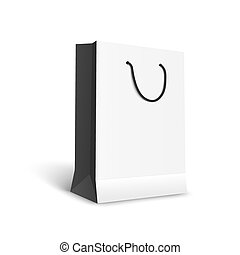 Black and white paper shopping bag mockup, realistic template of retail shopping buy symbol