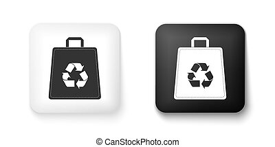 Black and white Paper shopping bag with recycle icon isolated on white background. Bag with recycling symbol. Square button. Vector