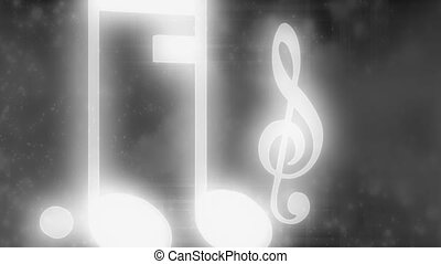 Black and white particles and music notes looping backdrop