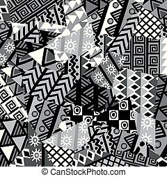 Black and white patchwork background with african motifs