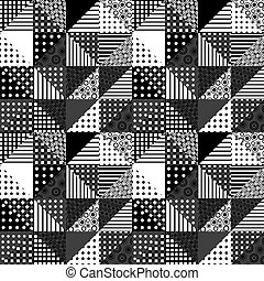 Black and white patchwork design