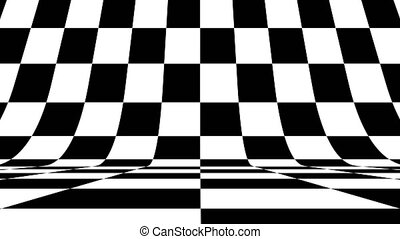 Black and white pattern checkers vertical. Future geometric patterns motion background. Abstract CGI motion graphics and animated background with black and white shapes