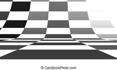 Black and white pattern checkers vertical. Future geometric patterns motion background. Abstract CGI motion graphics and animated background with black and white shapes. Seamless loop.