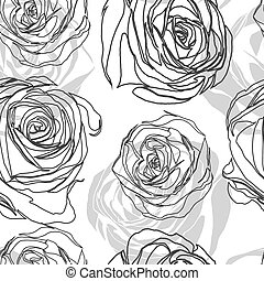 Black and white  pattern in roses with contours.