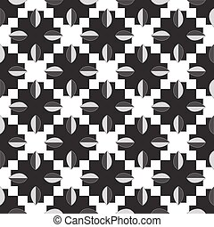 Black-and-white pattern of leaves.