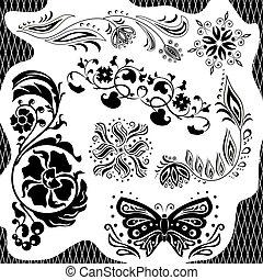 Black and white pattern. Set