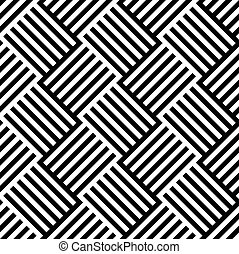 Black and White Pattern with Alternating Lined Squares Black...
