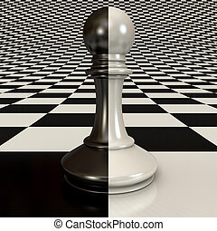 Black and white pawn on the chessboard background