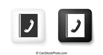 Black and white Phone book icon isolated on white background. Address book. Telephone directory. Square button. Vector