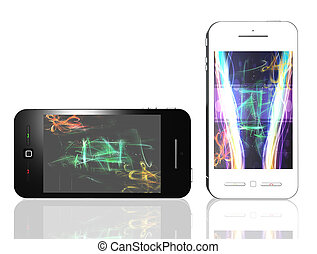 Black and white phones with colored background isolated on white