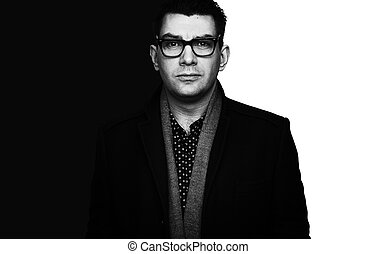 Black and white photo of a handsome businessman
