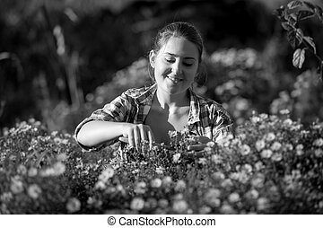 Black and white photo of florist woman cutting flowers at garden