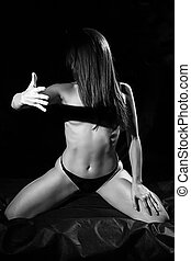 Black and white photo of hot woman
