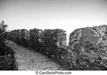 black and white photo of the castle of Monemvasia Greece