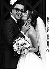 Black and white photo of the couple in love
