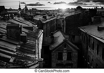 Black and white photo, view of the roof of Sankt Petersburg during nights.