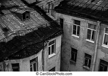 Black and white photo, view of the roofs of St Petersburg.