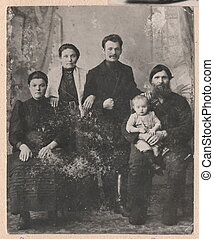 Black and white photographs old Russian family. - Old Black...