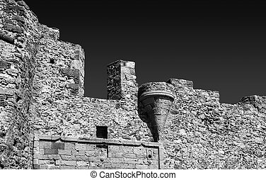 black and white photography of the castle of Monemvasia Greece Laconia Peloponnese Greece