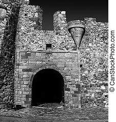 black and white photography of the castle of Monemvasia Laconia Peloponnese Greece