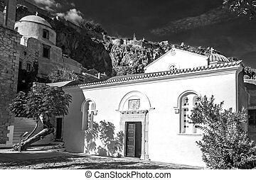 black and white photography of the church of Elkomenos Christos at Monemvasia Greece