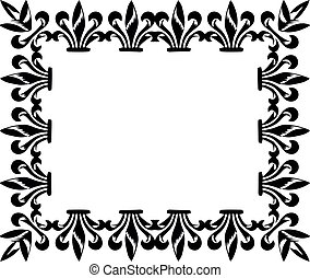 Black and white picture frame on the white wallpaper.