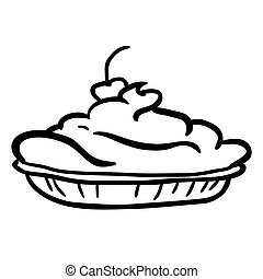 black and white pie cartoon
