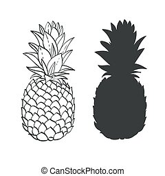 Black and white Pineapple hand-drawn and silhouette