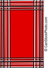 Black and White Plaid Border on a Background of Red.
