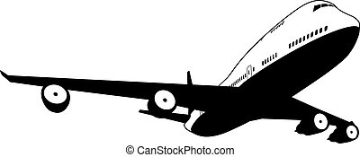 A black and white illustration of a stylised commercial jet plane