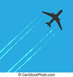 Black and white plane icon isolated on blue background. Airplane in dark color. Simple illustration symbol