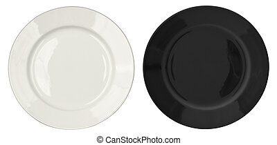 Black and white plates isolated set