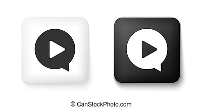 Black and white Play in circle icon isolated on white background. Square button. Vector
