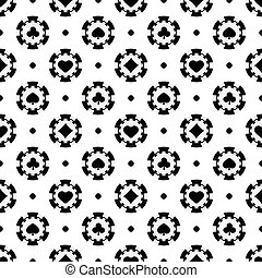 Black and white poker chips seamless pattern.