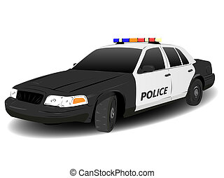Black and White Police Squad Car