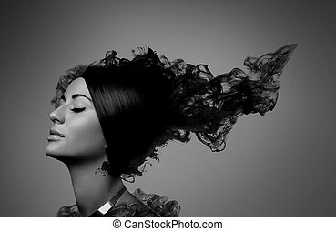girl with black smoky hair - black and white portrait girl...