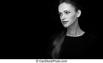 black and white portrait of a beautiful woman with copy...