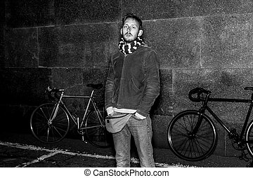 Black and white portrait of a cyclist