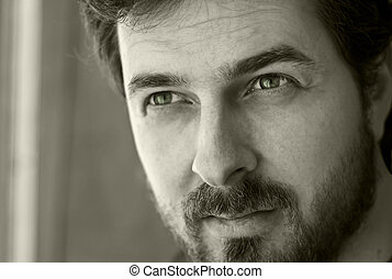Black and white portrait of a masculine guy - Black and...