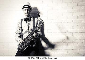 musician - Black-and-white portrait of an elegant musician ...