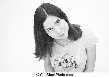 Black and white portrait  of beautiful young woman