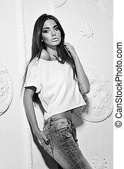 Black and white portrait of fashion model
