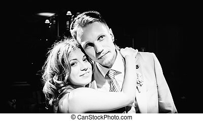 Black and White Portrait Of Happy Couple In Love