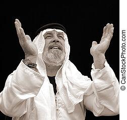 Black and White Portrait - The Prayerful Sheik - A Black and...