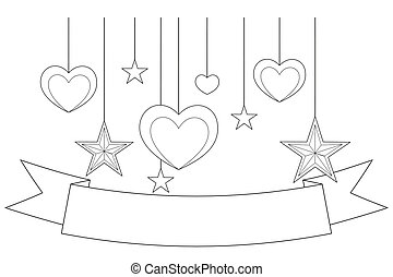 Black and white poster - ribbon, hearts and stars.
