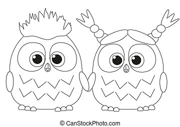 Black and white poster with an owl couple