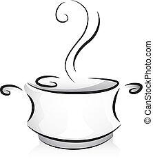 Black and White Pot - Black and White Illustration of a Pot...