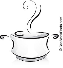 Black and White Pot - Black and White Illustration of a Pot...