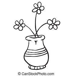 Freehand drawn black and white cartoon honey pot black and white pot with flowers mightylinksfo