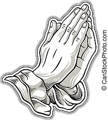 Black and white prayer hand. Vector illustration